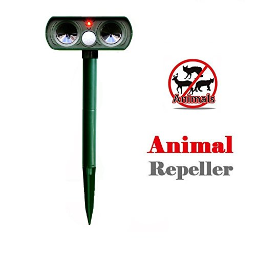 Aoxsen Ultrasonic Solar Power Pest Animal Repeller Repellent Pest Control Waterproof With PIR Sensor Outdoor Yard Lawn Garden Bat Mole Dog Cat Foxes Deterrent (Solar Powerd, Green)