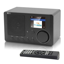 Ocean Digital Internet Radio Wi-Fi Bluetooth Receiver with 2.4'' Color Display Wireless Speaker -Black