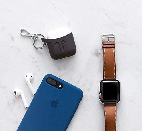 Airpods case with Keychain Apple Iphone Compatible by PodPocket -PREMIUM Silicone Protective Case, Cover, Skin -Slides Easily into Pocket and Has Open Bottom for Charging -(Cocoa Gray) 2