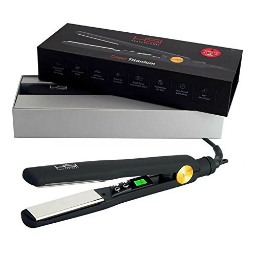 HSI Professional | The Glider Titanium Hairstyling Flat Iron | Tourmaline Ionic Hair Straightener| Straightens & Curls with Adjustable Temp | Incl Glove, Pouch, Travel Size Argan Oil Hair Treatment
