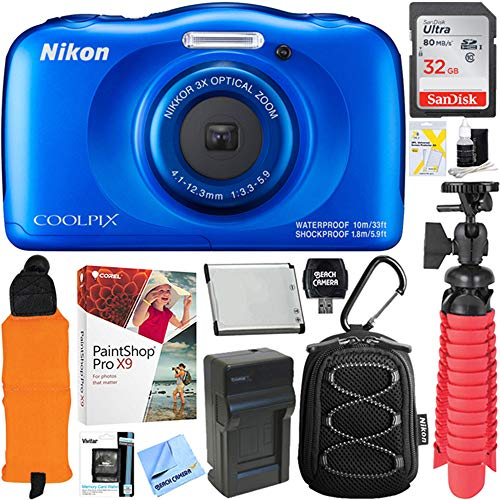 Nikon COOLPIX W100 13.2MP Waterproof Digital Camera (Blue) + 64GB Class 10 UHS-1 SDXC Memory Card + Accessory Bundle