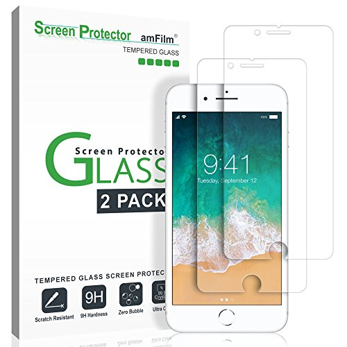 "amFilm iPhone 8, 7, 6S, 6 Screen Protector Glass, Tempered Glass Screen Protector for Apple iPhone 8, 7, iPhone 6S, iPhone 6 [4.7"" inch] 2017 2016, 2015 (2-Pack)"