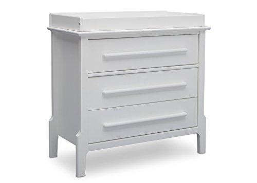 Serta Mid Century Modern 3 Drawer Dresser with Changing Top, Bianca White