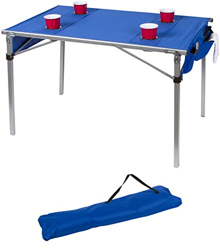 """42"""" Portable Lightweight Soft Top Folding Table For Camping and Travel With Carry Bag by Trademark Innovations (Blue)"""
