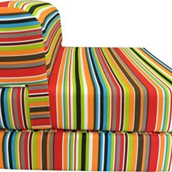 """D&D Futon Furniture Multi Colors Stripes Twin Size Sleeper Chair Folding Foam Beds, Foam 1.8 Pounds Density Sofa Beds Couches 6"""" Thick X 32"""" Wide X70"""" Long."""