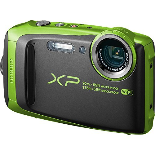 Fujifilm FinePix XP120 Shock & Waterproof Wi-Fi Digital Camera, Black/Lime Green