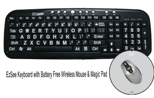 Large Print EZSee by DC - New Improved - USB Wired Computer Keyboard for Low Vision Users- Black Keys with White Letters Bundled With Battery Free Wireless Mouse & Magic Pad