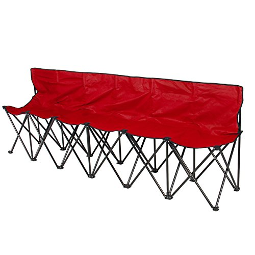 Best Choice Products 6-Seat Portable Folding Sports Sideline Bench Chairs w/Carrying Case - Red