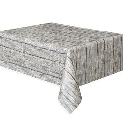 "Rustic Wood Plastic Tablecloth, 108"" x 54"""