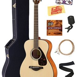 Yamaha Solid Top Small Body Acoustic Guitar - Natural Bundle with Hard Case, Tuner, Strings, Strap, Picks, Austin Bazaar Instructional DVD, and Polishing Cloth