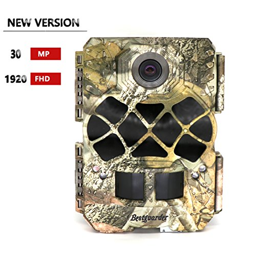 "Bestguarder Trail Camera, 30MP 1920P HD Waterproof Wildlife Hunting Scouting Game Camera with 140°Detecting Range Motion Activated Night Vision 2.0""LCD 42Pcs IR LEDs"