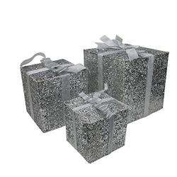 Northlight Set of 3 Lighted Silver Glitter Gift Box