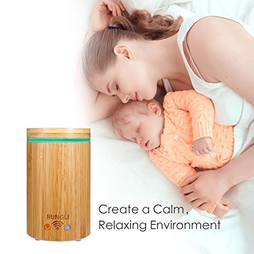 RUNGLI Bamboo Smart Essential Oil Diffuser Ultrasonic Aromatherapy Humidifier
