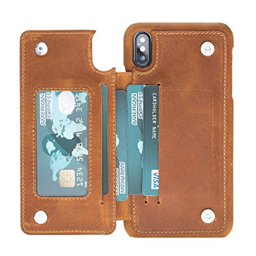Leather Snap-on Case with Attached Wallet for Apple iPhone