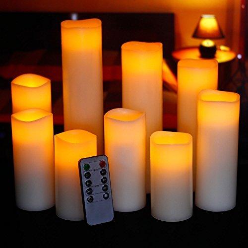 "Ry-king 4"" 5"" 6"" 7"" 8"" 9"" Pillar Flickering Flameless LED Candles"