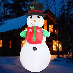 Fanshunlite Christmas Inflatable 8 FT Snowman Hat Lighted