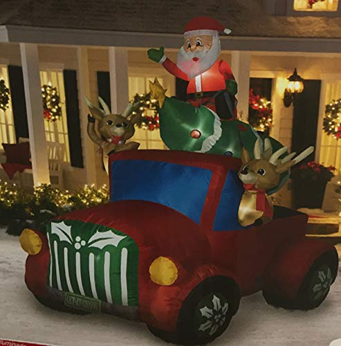 Santa Truck Retro with Christmas Tree on Roof Airblown