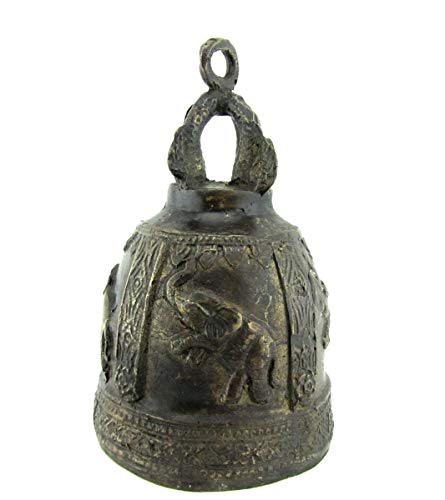 Blue Orchid Bronze Thai Temple Bell Elephant Good Luck