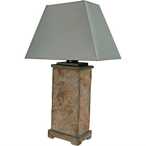Sunnydaze Indoor/Outdoor Natural Slate Table Lamp, 24 Inch