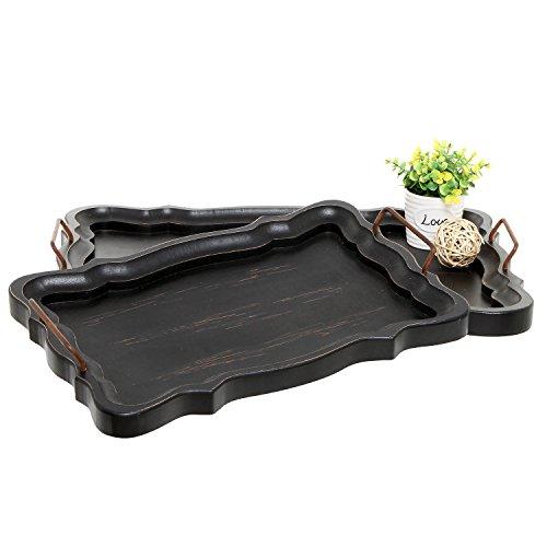 Set of 2 Rustic Black Brown European Vintage Style Wood