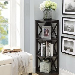Convenience Concepts Oxford 3-Tier Corner Bookcase, Espresso