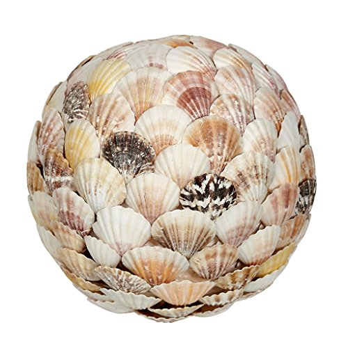 """Decorative Orb Ball 8"""", Mixed Scallop Flat Shells Sphere Table"""
