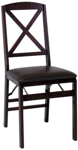 Cosco Espresso Wood Folding Chair with vinyl seat & X-Back