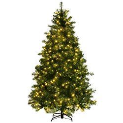 Goplus Pre-Lit Christmas Tree Artificial PVC Spruce Hinged