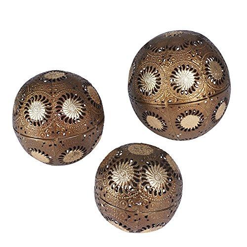 Household Essentials 3 Piece Sunburst Metal Decorative Balls, Gold