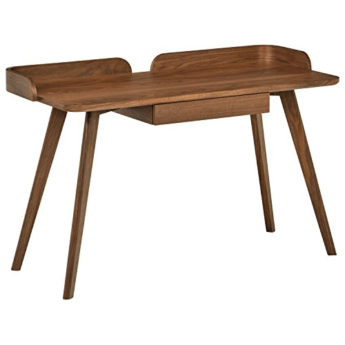 Rivet Mid-Century Curved Wood Home Office Computer Desk