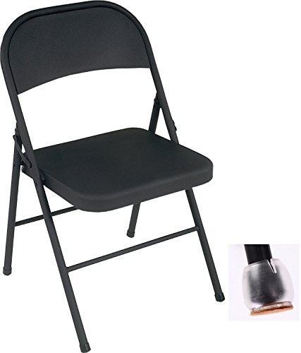 Cosco All Steel 8-Pack Folding Chair, Black & Removable Silicone Caps