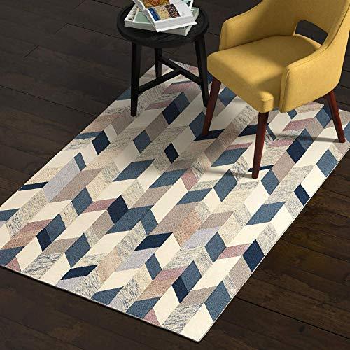 Rivet Modern Geometric Wool Rug, 4' x 6', Blue, Grey, Brown