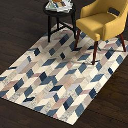 Rivet Modern Geometric Wool Rug, 4' x 6', Blue, Grey, Brown