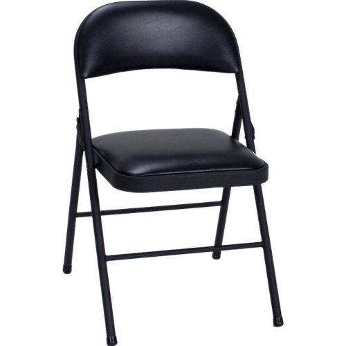 Set of 4 Folding Chairs with Vinyl Padded Seat