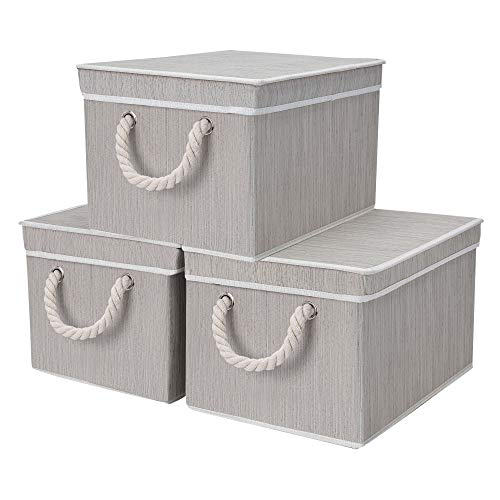 StorageWorks Storage Bins with Lid and Cotton Rope Handles