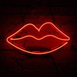 Neon Sign Lip Shaped Glass Neon Light for Girls Bedroom