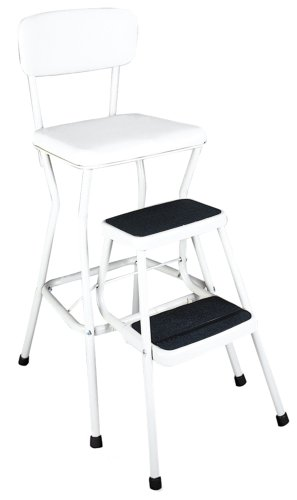 Cosco White Retro Counter Chair / Step Stool with Pull-out Steps