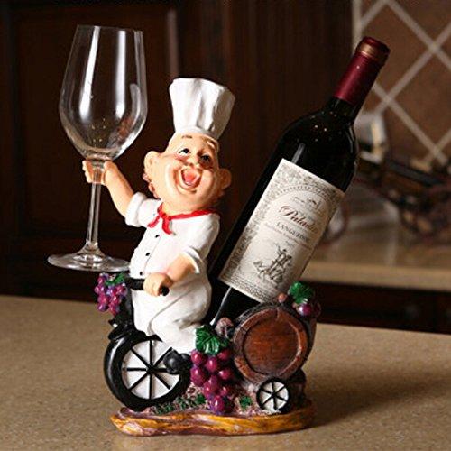 OLizee Fat Chef Resin Decorative Wine Bottle Holder Rack