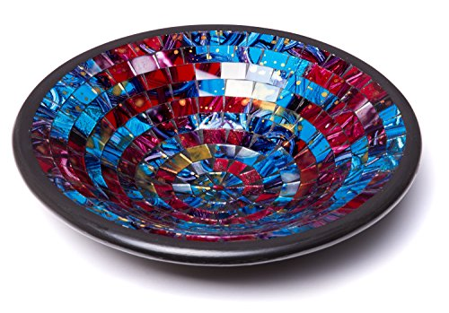 "Glass Mosaic Round Accent Plate Platter Decorative Catch-All Tray Dish Centerpiece Bowl - 11"" Large Modern Style with Blue, Red, Purple, Yellow Colors for Living Room, Bedroom, Hallway Console Side Ta"