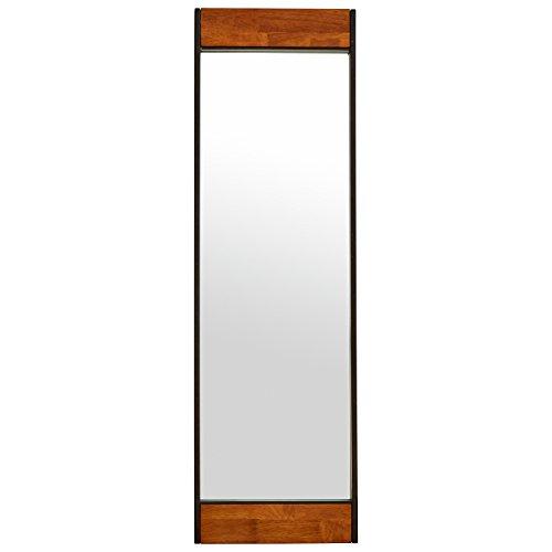 "Rivet Wood and Iron Rectangular Mirror, 44.25""H"