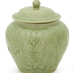 NOVICA Decorative Floral Ceramic Jar, Green, Lotus Pond'