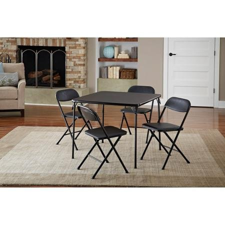 Cosco 5-Piece Card Table Set, Black that is Low-maintenance