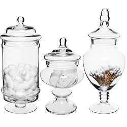 MyGift Set of 3 Deluxe Apothecary Jar Sets/Glass Kitchen