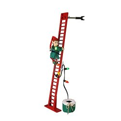 "Mr. Christmas 40"" Super Climbing Elf, Red Green Ladder"