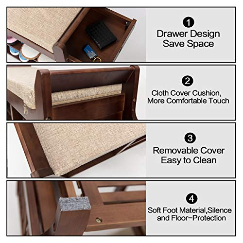Bocca Shoe Rack Bench, Bamboo Removable Cushion Bocca Shoe Rack Bench, Bamboo Removable Cushion Storage Shelf, 2-Tier Entryway Shoe Storage Organizer with Drawer and Umbrella Stand.