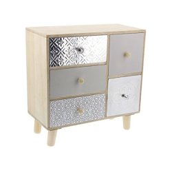 Deco Rectangular Aluminum and Wood Jewelry Box
