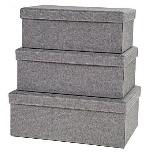 Storage Box Set with lid, 3-Pcs, Fabric Organizer Boxes