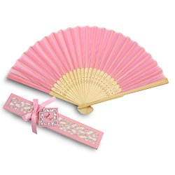 Doris Home 50pcs Pink Silk Bamboo Handheld