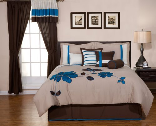 8 Pieces Oversize Blue and Brown Flower Comforter