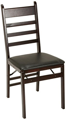 Cosco Espresso Wood Folding Chair with vinyl seat